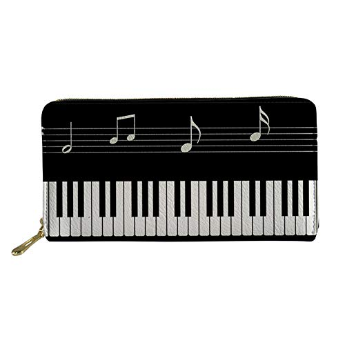Mumeson Music Collection Women Girls Long Wallet Pu Leather Piano Keyboard Print Clutch Purse Card Holder Large Storage