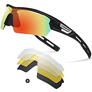 Torege Polarized Sports Sunglasses for Men Women Cycling Running Driving TR033( Black&black tips&Red lens)