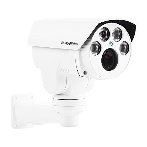 SyncArrow Network 2.0 Megapixel 1080P HD, 10x Optical Zoom, 10x Digital Zoom, 12 Deg/s Low Speed PTZ, 200ft (60M) IR Distance, IP66 Weatherproof Outdoor Security IP Bullet Camera ONVIF - Mount Hi Wall Res
