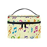 Hengpai Colorful Music Note Cosmetic Bag Travel Makeup Train Cases Storage Organizer for Women