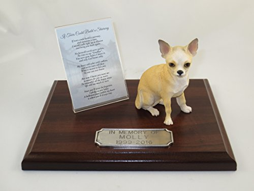 Beautiful Walnut Finished Personalized Memorial Plaque With White & Tan Chihuahua Figurine