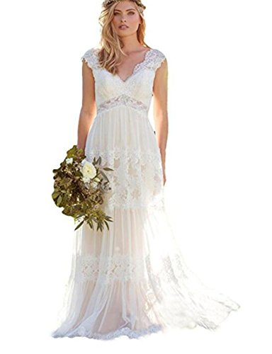 The Peachess White Bohemian Wedding Dresses Lace Wedding Gowns Backless Vestido De Noivas US18