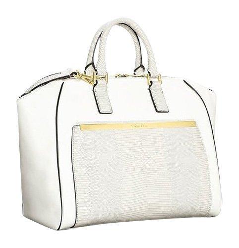 Calvin Klein Amelia Dome Satchel Snake Texture Bag Ecru White
