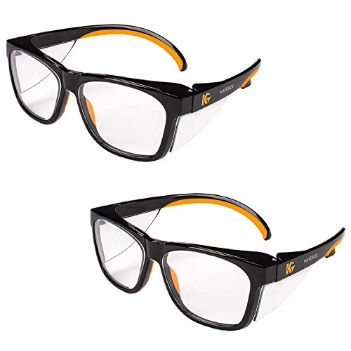 Kleenguard Maverick Safety Glasses with Intergrated Side Shields (2 Pair) (49312 Clear Anti-Glare Lens with Black Frame and Orange Tips) (Maverick Glass)