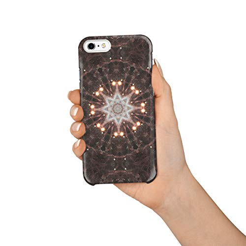 (Durable Phone Case for iPhone 6/iPhone 6s, Symbolism Brown Mandala Flower Pattern Stylish Phone Shell Shockproof Protective Back Cover with Tempered Glass Screen Protector,)