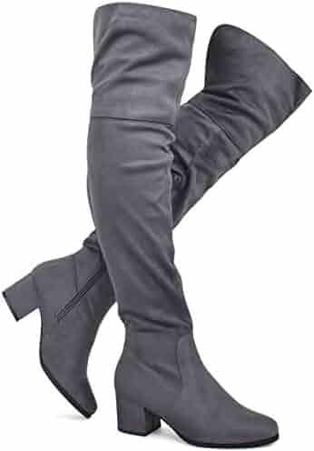 7d61e50da6d Premier Standard - Women s Over The Knee Stretch Boot - Trendy Low Block  Heel Shoe -