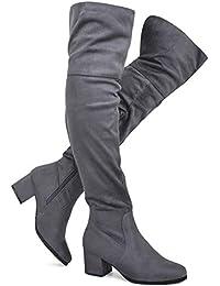 0ebc5d78581 Women s Over The Knee Stretch Boot - Trendy Low Block Heel Shoe - Sexy Over  The