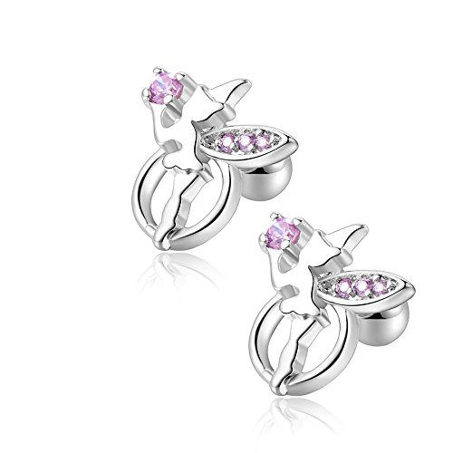 18g Stainless Steel Cute Fairy CZ Cartilage Earrings Barbell Earrings Ear Stud Sleeper 2 Pieces(Pink)