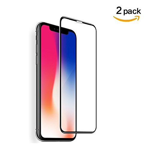 Queem [Full Coverage Tempered Glass] Screen Protector for iPhone X (Case Friendly) Highest Quality Easy Install [2 Pack ]HD Clear with Lifetime Replacement Warranty - Retail Packaging