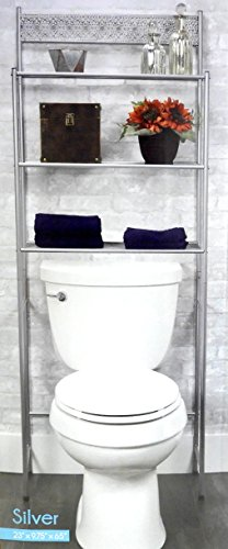 DINY Home Collections 3 Shelf Over The Toilet Spacesaver Easy to Assemble (Silver) 65'' Tall by DINY Home Collections