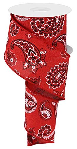 Bandana Canvas Wired Edge Ribbon, 2.5