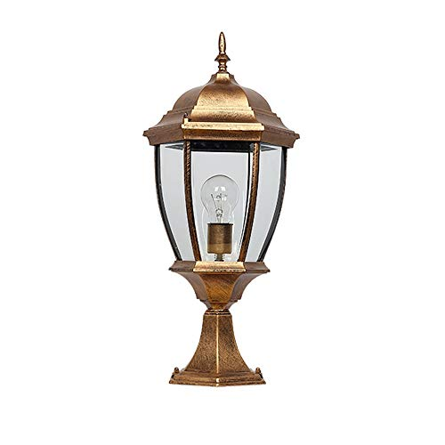 Dora the Explorer European E27 Post Bollard Lights Aluminum Alloy Glass Outdoor Column Light Wall Lamp Villa Garden Lantern for Decking Patio Garden Landscape IP54 (Color : Bronze, Size : M:482016cm) ()