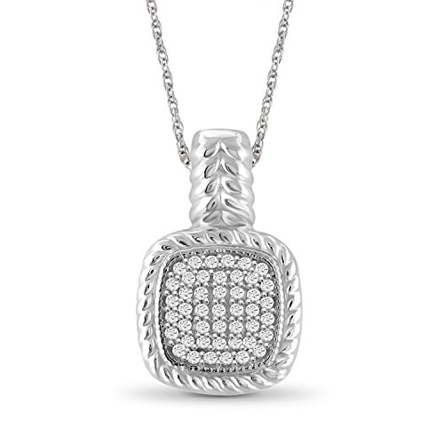Diamond Square Necklace - Jewelexcess 1/4 CTW White Diamond Pendant in Sterling Silver