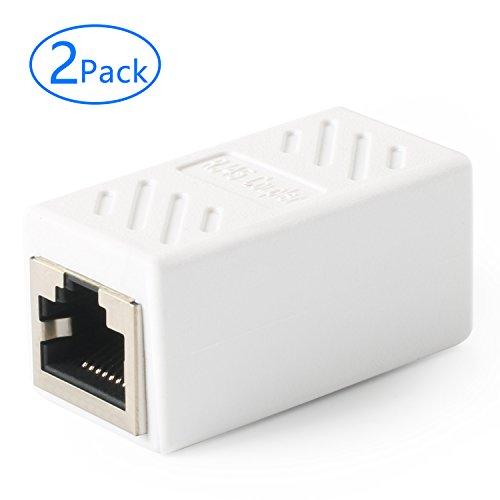 Tainston RJ45 Coupler(2 Pack) Female to Female in-Line Network Ethernet Coupler Cat7 Cat6 Cat5e LAN Cable Extender Adapter-White