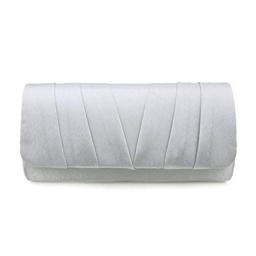 Satin Evening Clutch - Elegant Classic Satin Pleated Satin Flap Clutch Evening Bag Handbag, Silver