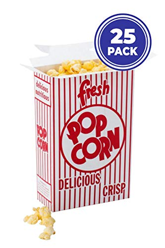 NVM Trading - Pack of 25 Popcorn Boxes Closed Top Resealable Size 4E, 8.5 x 6 x 2.5 inches. Great for Theater, Parties, Movie Night, fairs, Carnivals, School Events or giveaways.