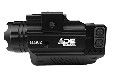Ade Advanced Optics HG62 Crusader Series Compact Green Laser with 300 lm Strobe Flashlight Sight, Black