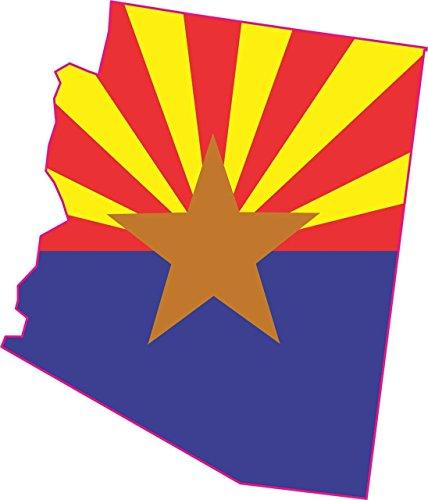 - StickerTalk 5in x 4in Die Cut Arizona Shape State Flag Bumper Sticker Decal Stickers Decals