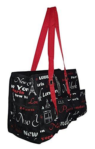 7 Pocket Fashion Print Tote Utility Bag (NY- Paris-London Print - Black)