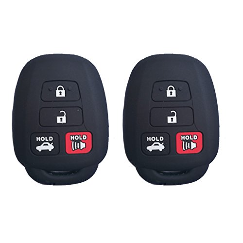 2Pcs Coolbestda Silicone Key Fob Remote Skin Cover Protector Keyless Entry Case for Toyota Camry SE LE Avalon Corolla RAV4 Venza Highlander Sequoia HYQ12BDM Black