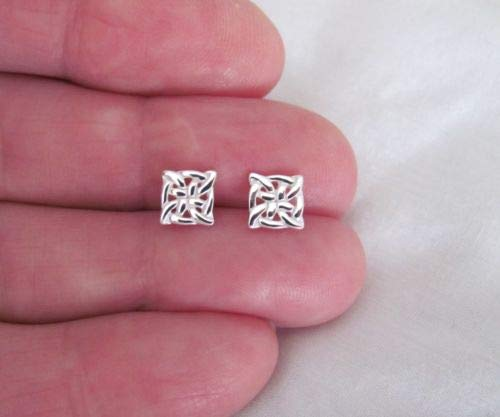 Sterling Silver 7mm Square Celtic Knot Post Stud Earrings. - Jewelry Accessories Key Chain Bracelet Necklace -