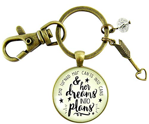 Dreams Into Plans Keychain Positive Life Message Inspired Jewelry Glam Word Pendant Young Women Boss Girl Quote