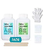 Epoxy Hars Clear Crystal Coating Kit 160ml - 2 Deel Casting Hars voor Kunst, Ambacht, Sieraden maken, Riviertafels, Bonus Handschoenen, Maatbeker en Houten Stokken