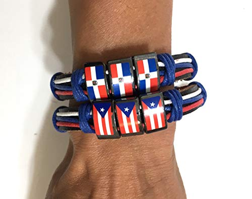 - Mad Can Studios Dominican Republic Puerto Rico Flags Wristband Design one Family Love 2pc Set