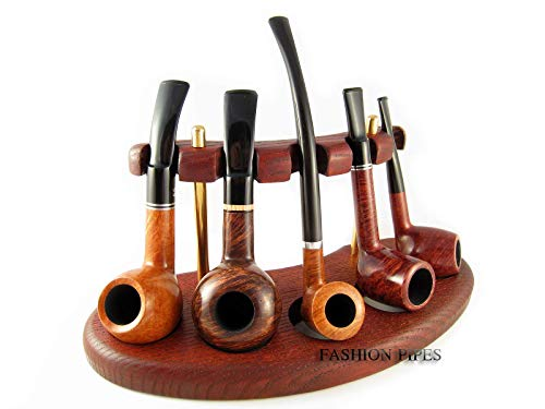 Fashion New Wooden Pipe Stand Rack Holder for 5 Tobacco Smoking Pipes. Handcrafted (5) ()