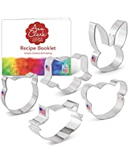 Ann Clark Cookie Cutters 5-Piece Animal Faces Cookie Cutter Set with Recipe Booklet, Cat Face, Dog Face, Bear Face, Raccoon/Fox Face, Bunny Face