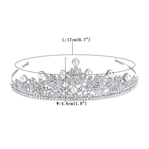 FANZE Women's Austrian Crystal Cream Simulated Pearl Victorian Style Flower Leaves Bridal Crown Tiara Hairband