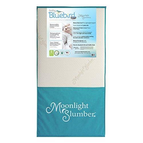 Moonlight Slumber Mattress Combo: Baby Bluebird Dual Firmness, Lightweight, Waterproof Crib Mattress and Toddler Mattress with Cool Gel Memory Foam + Easy Off Premium Cotton Cover by Moonlight Slumber