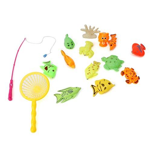 JAGENIE 13ピン磁気釣りおもちゃロッドモデルネットフィッシュキッズ子供ベイビーバスタイムFunChristmas新年ギフト、1 PC、ランダム配信
