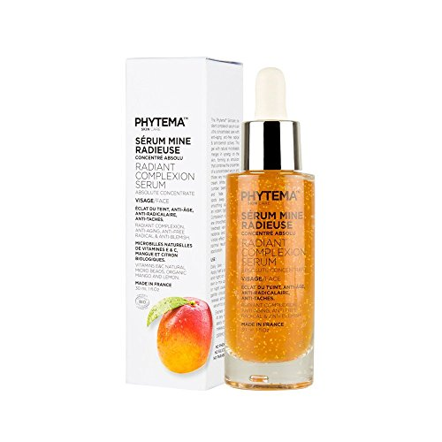 Anti-Aging Hydrating Serum with Natural Mango Micro-beads, Vitamins E and C, Natural and Organic Plant Extracts, Paraben-Free, 30 ml, Made in France, Phytema