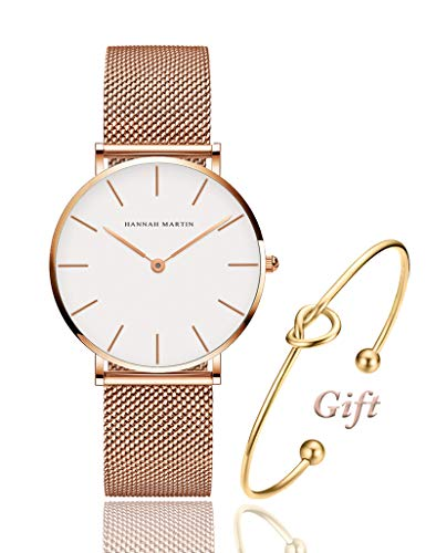 Women's Rose Gold Watch Analog Quartz Stainless Steel Mesh Band Casual Fashion Ladies Wrist Watches with Love Knot Bracelet Gift (White Dial) Analog Stainless Steel Bracelet