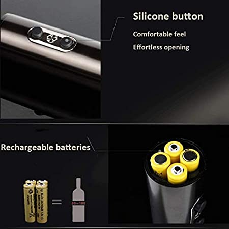 HUAMUGS Acero Inoxidable Eléctrico Saca Corchos Profesional Eléctrico Sacacorchos con Cortador De Papel De Aluminio USB Cable Cargador