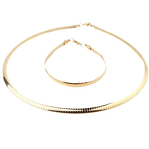 W&W Lifetime Women Choker Necklace Stainless Steel 18K Gold Plated Statement Jewelry Vintage Torque Necklaces