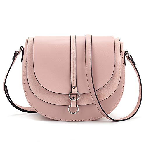 Women Crossbody Bag Saddle Shoulder Bag Small Satchel Purse and Pink Tote Handbag