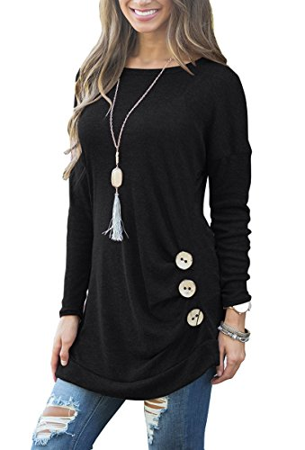 Sleeve Casual Round Neck Loose Tunic Top Blouse T-Shirt Black L ()