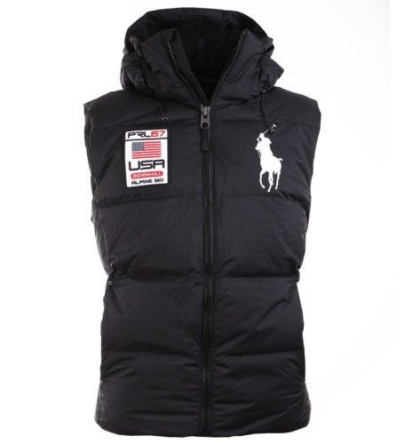 Polo Ralph Lauren Men's Big Pony Alpine Ski Patch Puffer Vest, Polo Black, Large