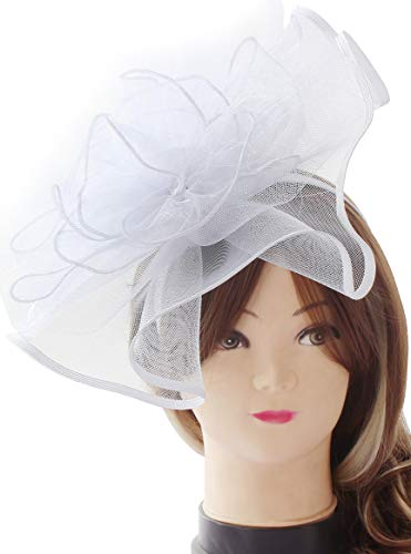Myjoyday Fascinator Hats Big Mesh Flower Headband Tea Party Headwear for Girls and Women (White) by Myjoyday (Image #1)
