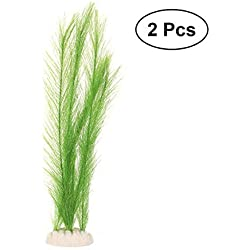 UEETEK 2Pcs Fish Tank Decorations, Aquarium Decorations Ornament, Fish Tank Artificial Plastic Green Water Plants, 40cm / 15.7""