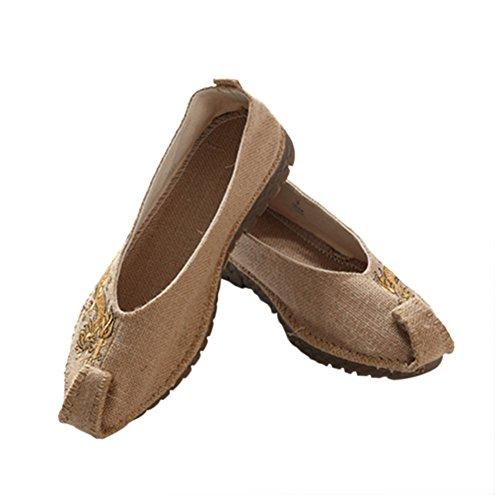 Haodasi Männer Dragon Leinen Slip-on Boot Schuhe Flache Chinesische Schuhe Hausschuhe Rutschfest Beige