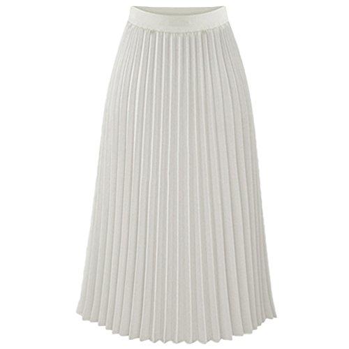 Heheja Femme Mousseline Plisse Jupe Loisir lgant t Longue Jupe Blanc