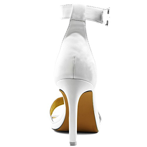 Sandal Buckle Dress Shoes Casual High Pu Toe Open Platform Heel Evening Strap Pump Women's Ankle White TXOZf77y