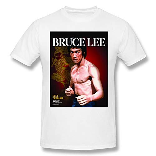 Jiacheng Design T-Shirts Casual Chinese Kung Fu Bruce Lee Short Sleeve T Shirts for Men's White