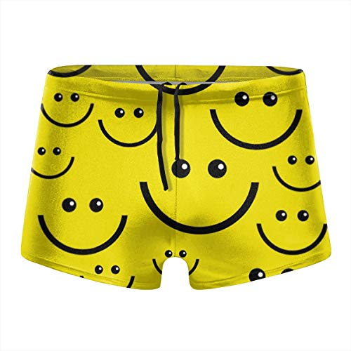 Happy Index Smiley Face Men's Quick Dry Boxer Briefs Swimwear Shorts Trunks Swimsuit XXL - Smiley Boxer Face