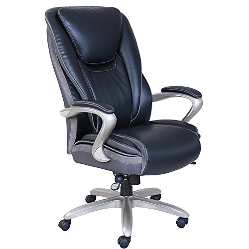 Serta Smart Layers Hensley Executive Big & Tall Chair, Black/Silver