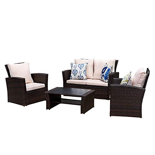 Wisteria Lane Outdoor Patio Furniture Set, 5 Piece Garden Rattan Sofa Wicker sectional Sofa Seat with Coffee Table,Brown