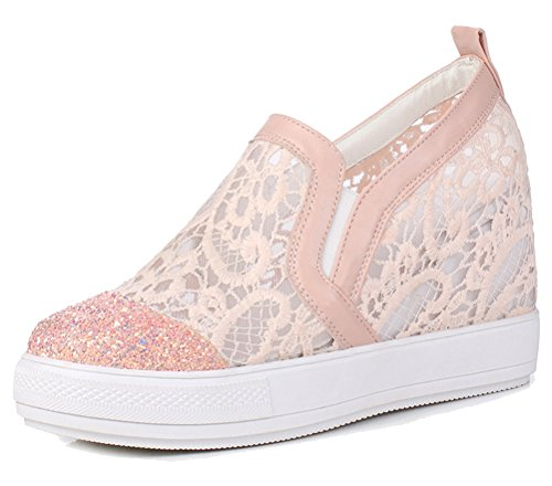 HiEase Women's Glitter Paillette Slip On Loafers Shoes Outdoor Fitness Wedges Mesh Dress Sneakers Size 4-12 (11, Pink)